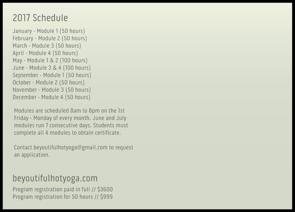 BeYOUtiful School of Hot Yoga Schedule & Modules