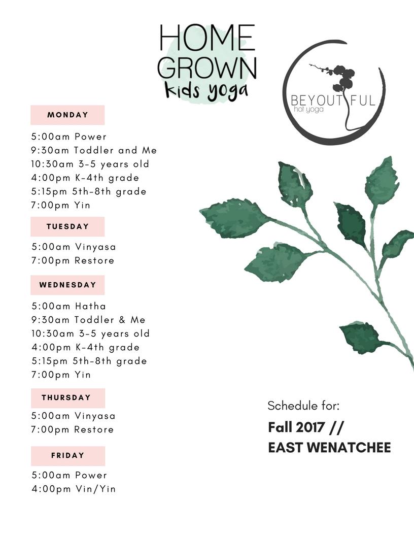 EAST WENATCHEE Fall Schedule