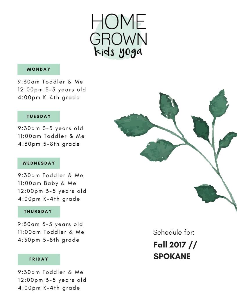 SPOKANE Fall Schedule